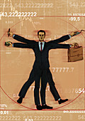 Businessman Vitruvian Man, illustration