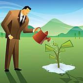 Businessman watering a money plant, illustration