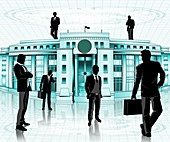 Businessmen in front of a central bank, illustration