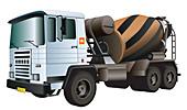 Cement truck, illustration