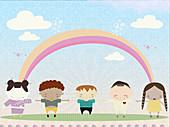 Children holding hands, illustration