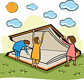 Children opening a large book, illustration