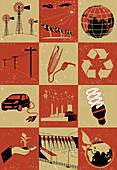 Collage of objects related to environment, illustration