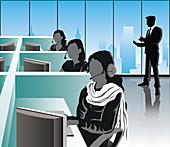 Customer service representatives, illustration
