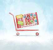 Discounted sale advertisement, illustration