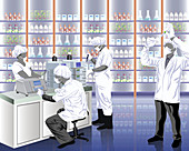 Doctors researching in a laboratory, illustration