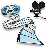 Film reel and camera, illustration