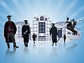 Graduating students, illustration
