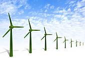 Grass rendering wind turbines, illustration