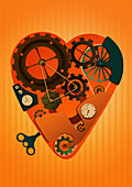 Heart shaped machine with wind-up key, illustration