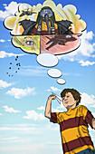 Illustration of boy flying paper plane