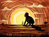 Illustration of boy planting sapling