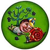 Illustration of boy looking at snail in garden