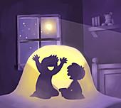 Illustration of boy scaring friend