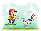 Illustration of boy with dog rollerskating
