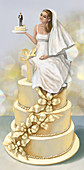 Illustration of bride and groom on cake