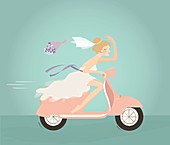 Illustration of bride throwing bouquet