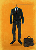 Illustration of business suit hanging on rope