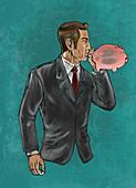 Illustration of businessman blowing piggybank