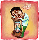 Illustration of businessman sleeping on hourglass