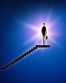 Illustration of businessman standing on stairway