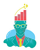 Illustration of businessman with graph on head