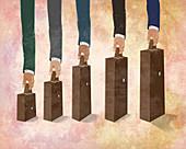 Illustration of businessmen's hands holding briefcases