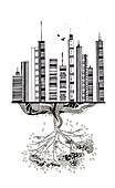 Illustration of deterioration of environment
