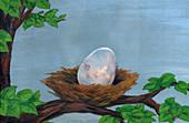 Illustration of egg in nest