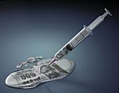 Illustration of financial syringe