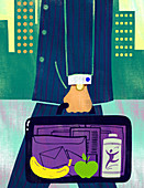 Illustration of fruits in businessman's briefcase