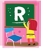 Illustration of girl drawing letter R