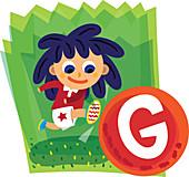 Illustration of girl kicking soccer ball with letter G
