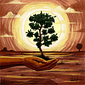 Illustration of human hand holding tree