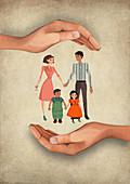 Illustration of human hands shielding family