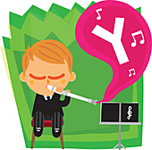 Illustration of letter Y coming out from flute played by boy