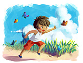 Illustration of little boy chasing butterflies