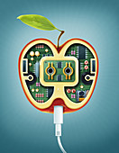 Illustration of machinery in apple