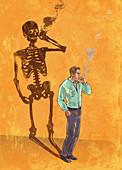Illustration of man smoking cigarette with skeleton shadow
