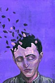 Illustration of man with scattered head