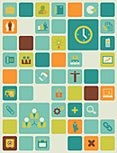 Illustration of management icons over coloured background