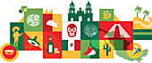 Illustration of Mexico over white background