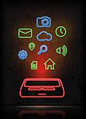 Illustration of mobile apps over black background