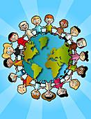 Illustration of multi ethnic children