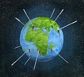 Illustration of ruining of earth