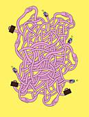 Illustration of tangled hands