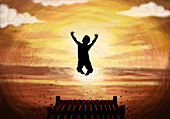 Illustration of teenage boy jumping in lake at sunset