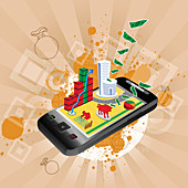 Illustration of the use of a mobile phone in stock trading