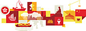 Illustration of tourist attractions in Hong Kong, China