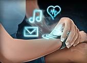 Illustration of woman wearing smartwatch